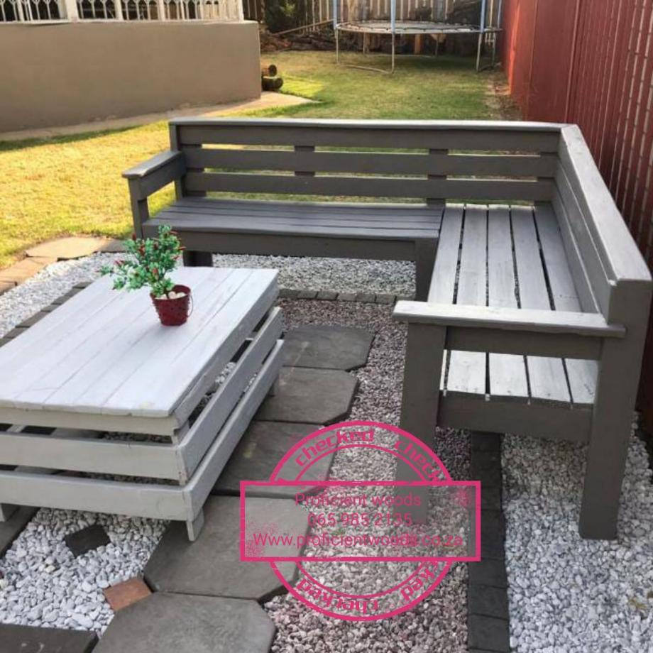 L shape benches