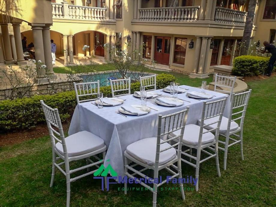 Tiffany chairs, Dinner tables and weddings