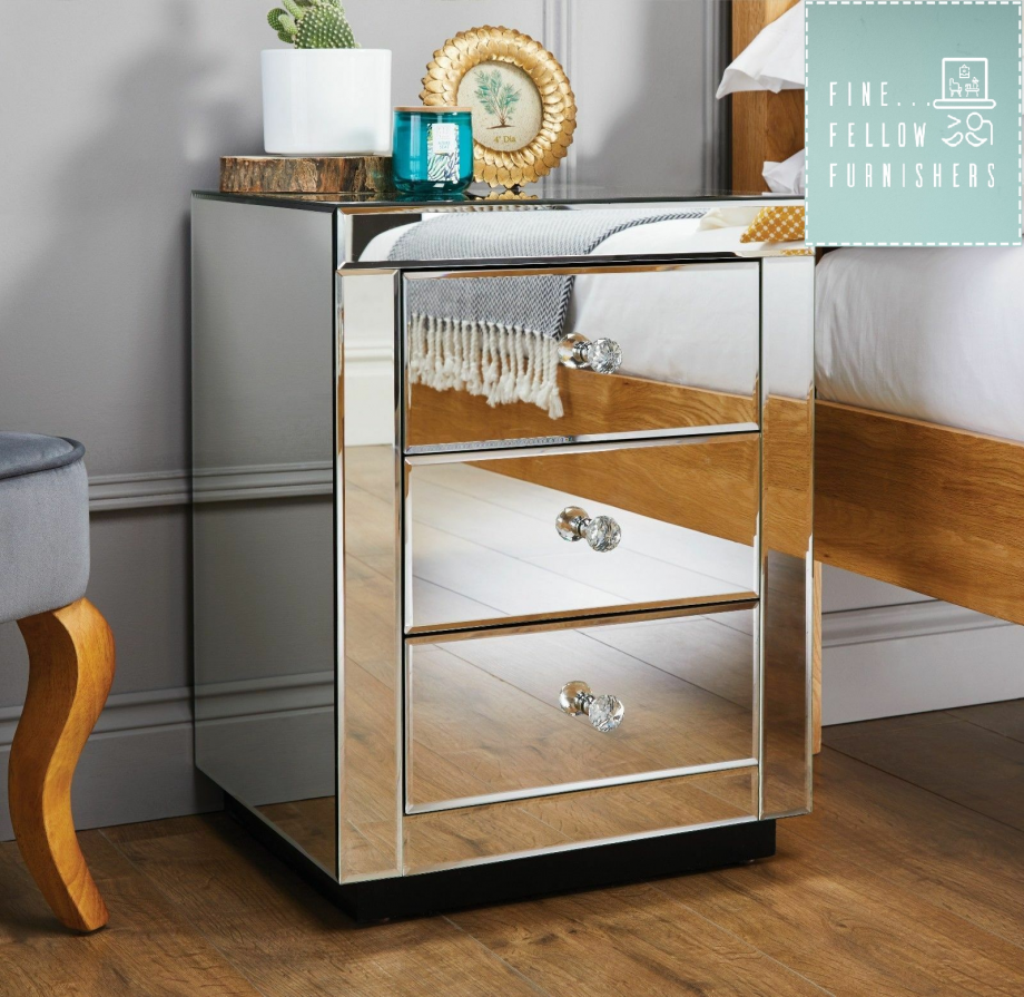 Contempro Three Drawer Mirrored Bedside Tables- Set of 2