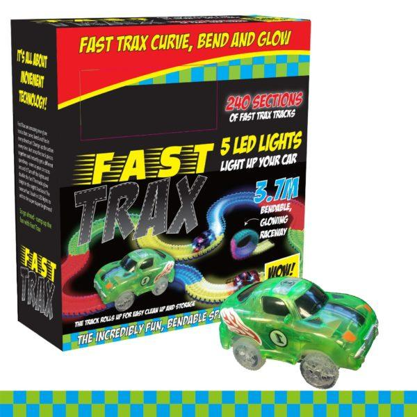 FASTTRAX GLOW IN THE DARK BENDABLE TRACK WITH REMOTE CONTROL CAR